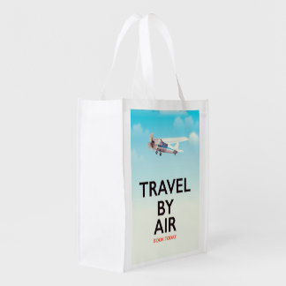 Travel By Air travel poster Reusable Grocery Bag