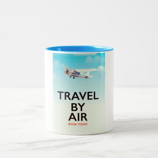 Travel By Air travel poster Two-Tone Coffee Mug