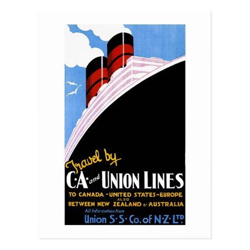 Travel by C and A and Union Lines Postcard