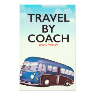 Travel By coach British travel poster Stationery