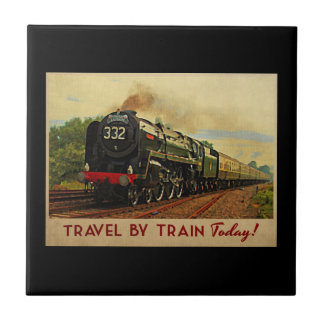 Travel By Train Small Square Tile