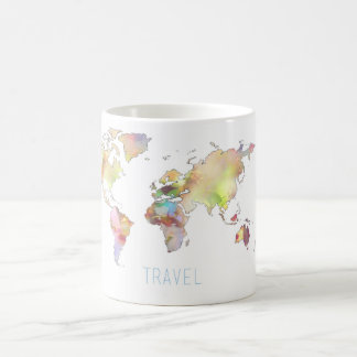 Travel colorful world map mug