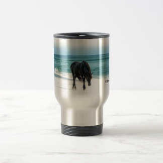 Travel commuter spillproof mug, horse, equestrian travel mug