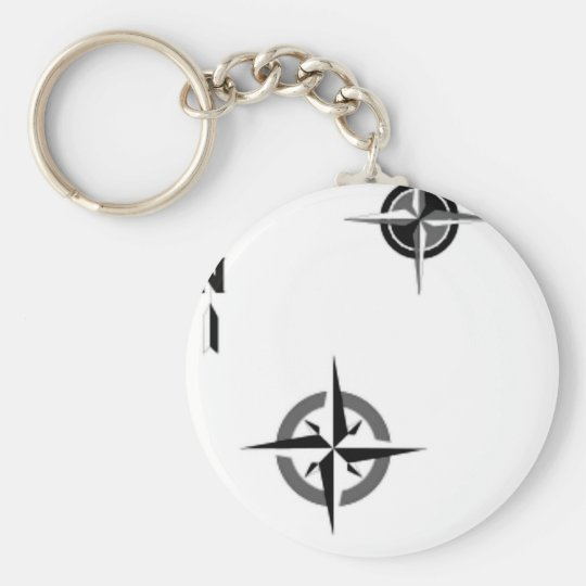 Travel Compass & Map Symbols Basic Round Button Key Ring