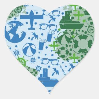 Travel design heart sticker