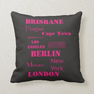 Travel Destination in Pink and Black Cushion