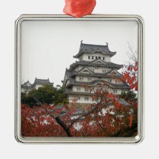 Travel Himeji Castle Silver-Colored Square Decoration