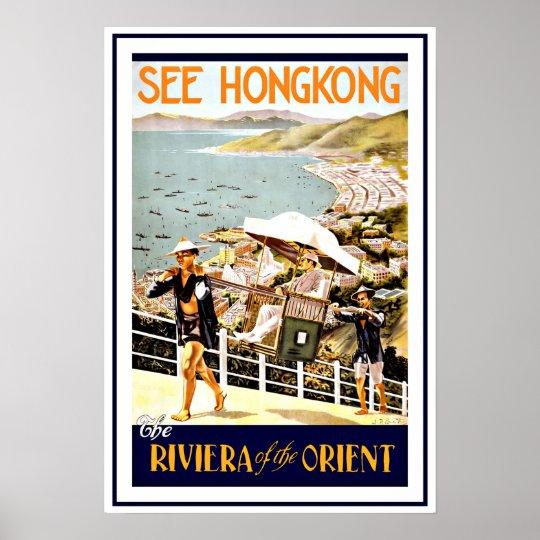 Travel Hong Kong Riviera Vintage Poster