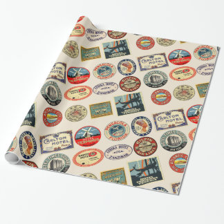 Travel, Hotel Stickers, Luggage  style, Wrapping Paper