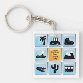 Travel Icons Single-Sided Square Acrylic Key Ring