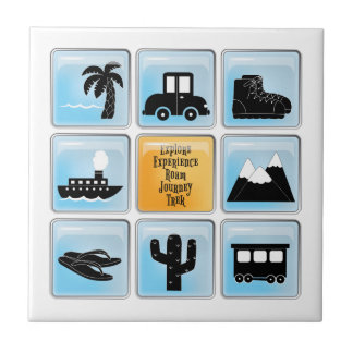 Travel Icons Small Square Tile
