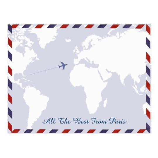 travel ideas . world map postcard