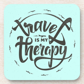 Travel Is My Therapy Drink Coasters