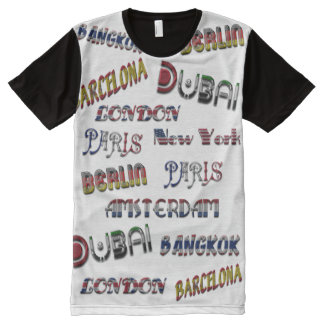 Travel London Amsterdam Bangkok Dubai Paris All-Over Print T-Shirt