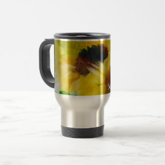 Travel magnetic cup of water color sunflower
