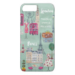 Travel map London Paris   iPhone 7 plus Case