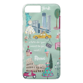 Travel map New York Rome | Iphone 7 plus Case