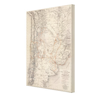 Travel Map of Dr V Martin de Moussy Canvas Print