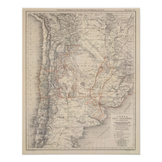 Travel Map of Dr V Martin de Moussy Poster