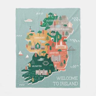 Travel Map of Ireland   Landmarks & Cities Fleece Blanket