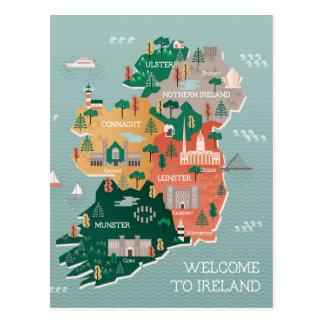 Travel Map of Ireland | Landmarks & Cities Postcard