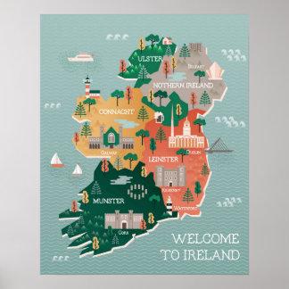 Travel Map of Ireland   Landmarks & Cities Poster