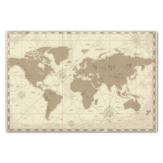 Travel Map Tissue Paper