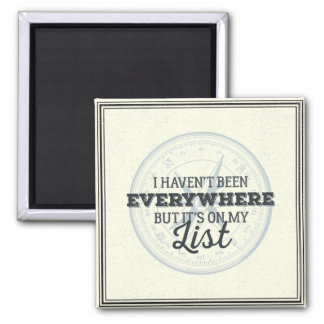 Travel more compass stamp motivational quote square magnet