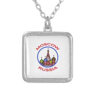 TRAVEL MOSCOW RUSSIA SQUARE PENDANT NECKLACE