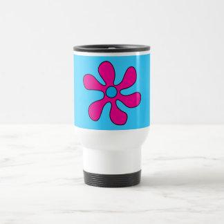 Travel Mug - Flower Power Pink on Blue