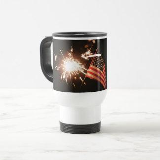 Travel Mug Partiotic Flag Fireworks Red White Blue