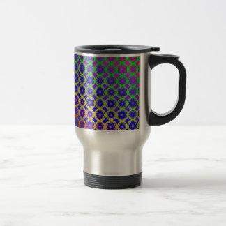 Travel Mug - Rainbow Mandala Fractal Pattern