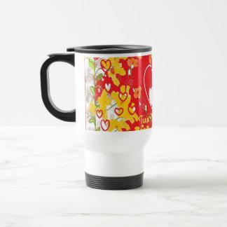 "Travel Mug ""Twin Flames Eternal"" red yellow"
