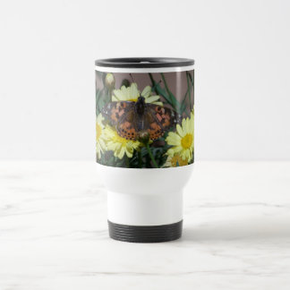 travel mug with butterfly and yellow flowers
