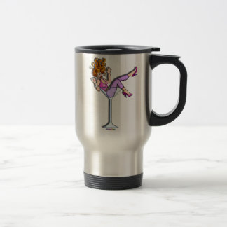 Travel Mugs Cups - Girl in a Martini Lil Red