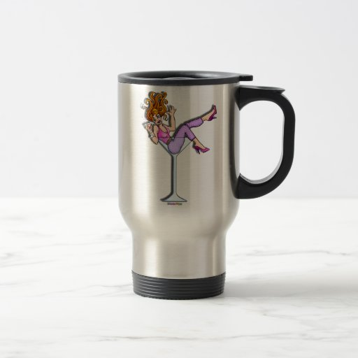Travel Mugs, Cups - Girl in a Martini, Lil Red