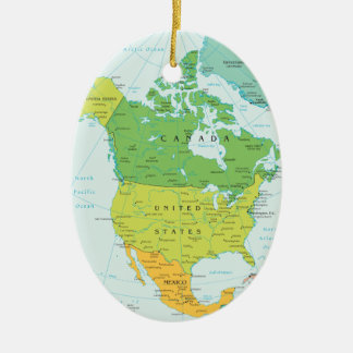 Travel North-Amerca: Canada, USA and Mexico Christmas Ornament