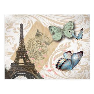 Travel Paris Effiel Tower Wedding save the date Postcard