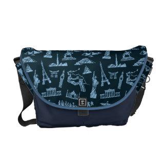Travel Pattern In Blues Pattern Commuter Bag