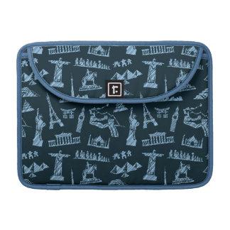 Travel Pattern In Blues Pattern Sleeve For MacBooks