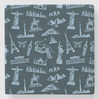 Travel Pattern In Blues Pattern Stone Coaster