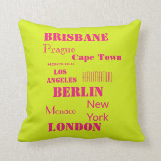 Travel Personal Destination in Pink and Lime Green Cushion