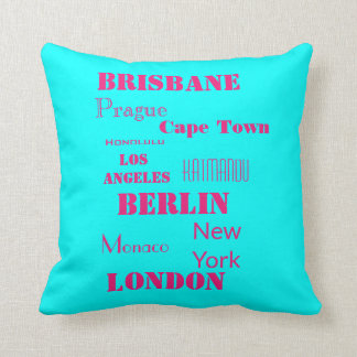 Travel Pink and Blue Personal wish list Cushion