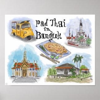 Travel Poster: Pad Thai in Bangkok Poster