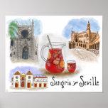 Travel Poster: Sangria in Seville Spain Poster