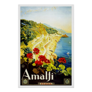 Travel Poster Vintage Amalfi Italy Europe