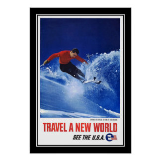 Travel Poster Vintage Aspen Colorado Skiing