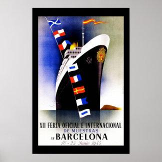 Travel Poster Vintage Barcelona Spain