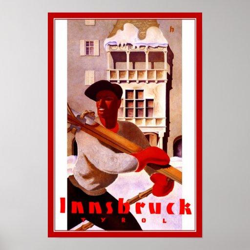 Travel Poster Vintage Innsbruck Tyrol Skiing