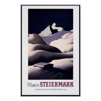 Travel Poster Vintage Winter Steiermark Austria